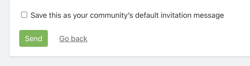 Screenshot of saving default invitation message