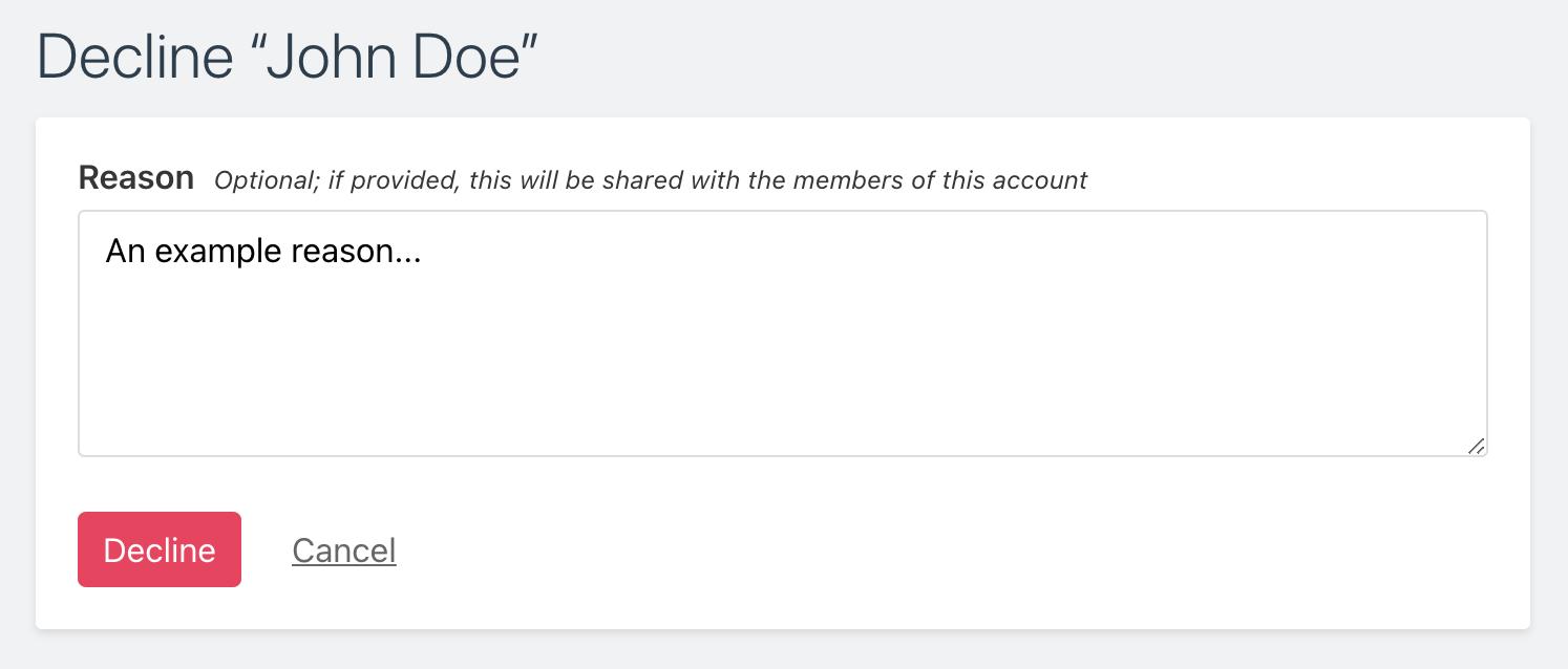 Screenshot of decline page