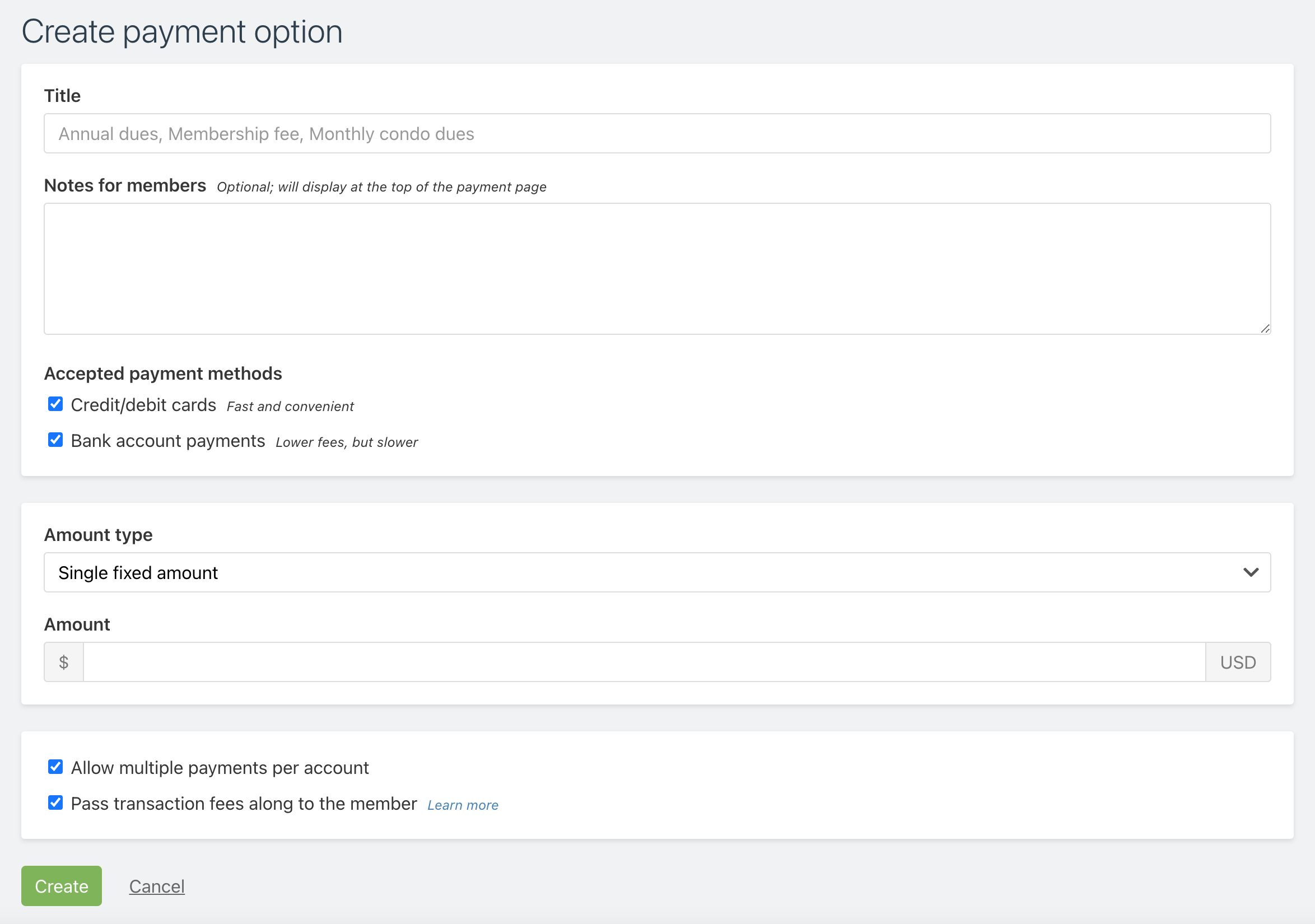 Screenshot of the create payment option page